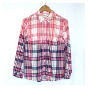 Upcycled Custom Bleached Plaid Button Down Shirt M